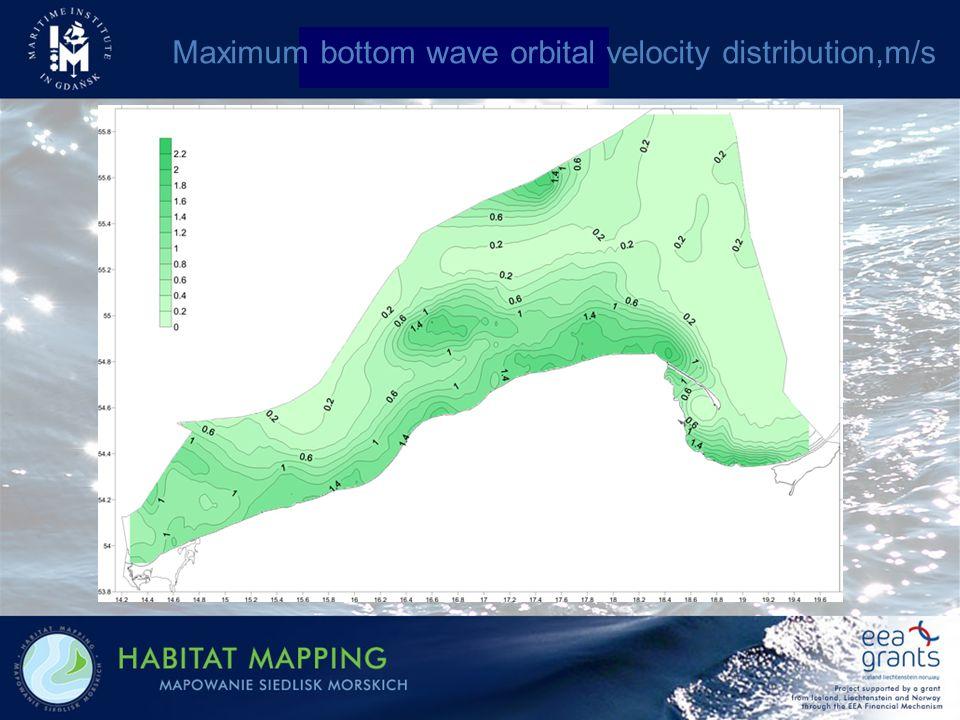 Maximum bottom wave orbital velocity distribution,m/s