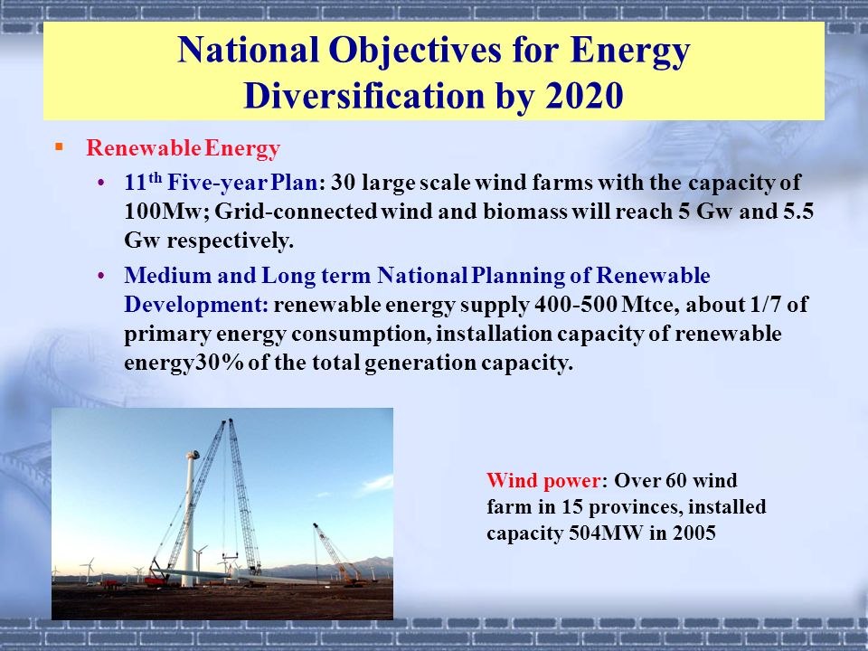 National Objectives for Energy Diversification by 2020 Renewable Energy 11 th Five-year Plan: 30 large scale wind farms with the capacity of 100Mw; Gr