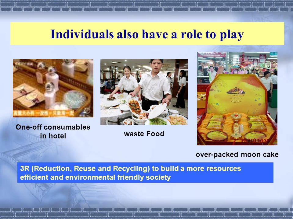 waste Food One-off consumables in hotel over-packed moon cake 3R (Reduction, Reuse and Recycling) to build a more resources efficient and environmenta