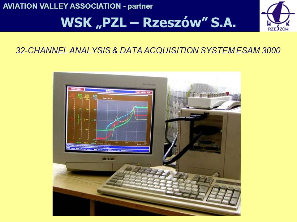 32-CHANNEL ANALYSIS & DATA ACQUISITION SYSTEM ESAM 3000 AVIATION VALLEY ASSOCIATION- partner AVIATION VALLEY ASSOCIATION - partner WSK PZL – Rzeszów S.A.