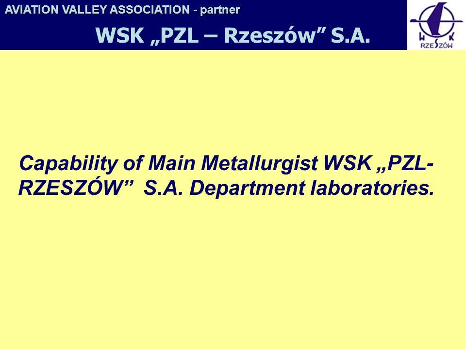 Capability of Main Metallurgist WSK PZL- RZESZÓW S.A. Department laboratories. AVIATION VALLEY ASSOCIATION- partner AVIATION VALLEY ASSOCIATION - part