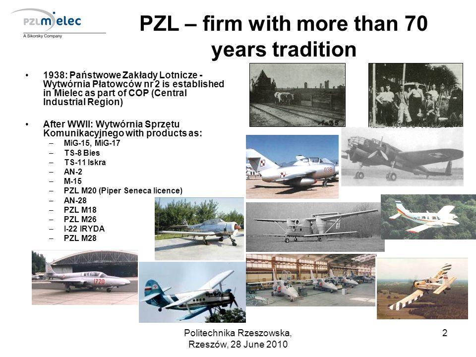 Politechnika Rzeszowska, Rzeszów, 28 June 2010 3 PZL – firm with more than 70 years tradition Since 16 March 2007 100% shares of Polskie Zaklady Lotnicze Sp.