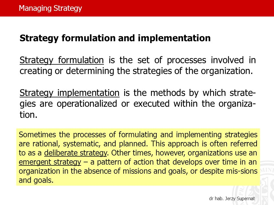 Managing Strategy dr hab.