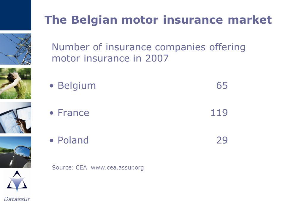 Datassur The Belgian motor insurance market Number of insurance companies offering motor insurance in 2007 Belgium65 France119 Poland29 Source: CEA ww