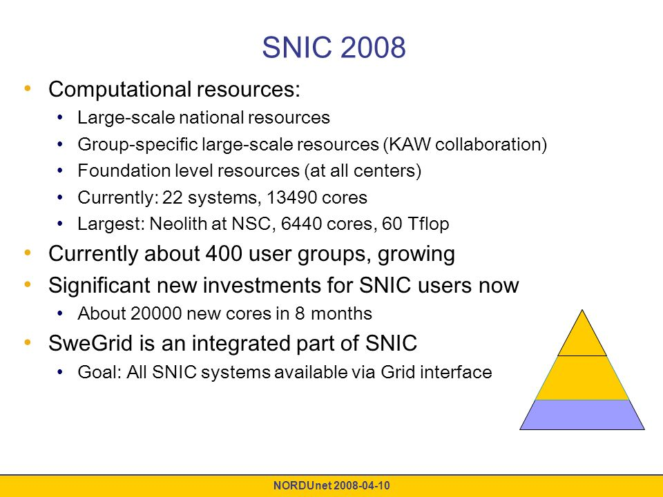 NORDUnet 2008-04-10 SNIC 2008 Computational resources: Large-scale national resources Group-specific large-scale resources (KAW collaboration) Foundation level resources (at all centers) Currently: 22 systems, 13490 cores Largest: Neolith at NSC, 6440 cores, 60 Tflop Currently about 400 user groups, growing Significant new investments for SNIC users now About 20000 new cores in 8 months SweGrid is an integrated part of SNIC Goal: All SNIC systems available via Grid interface