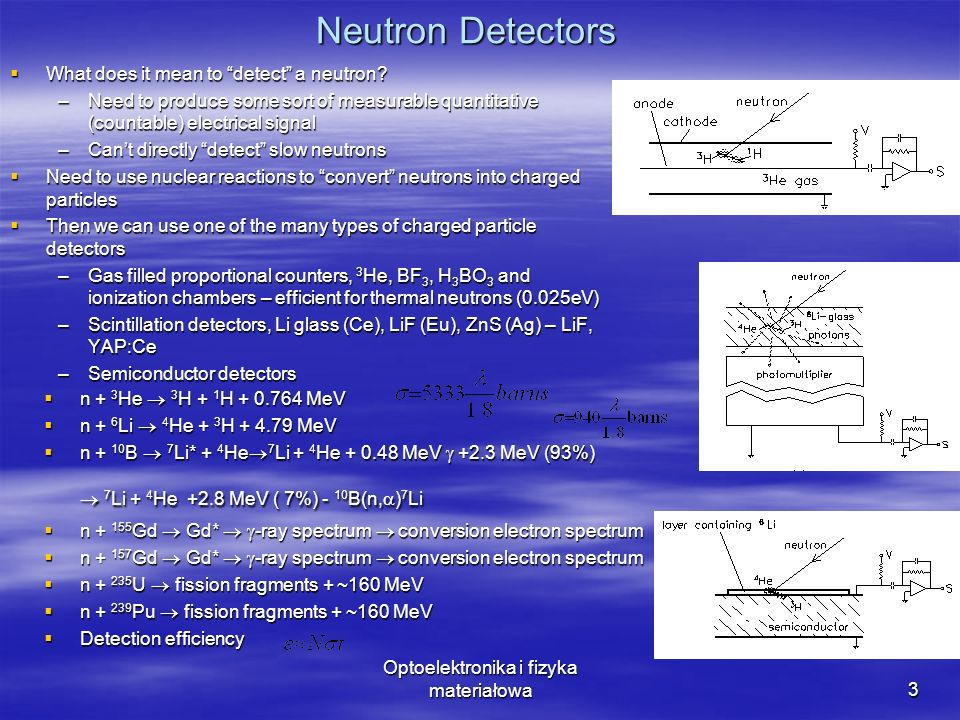Optoelektronika i fizyka materiałowa3 Neutron Detectors What does it mean to detect a neutron.