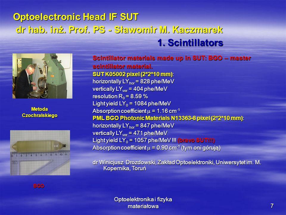 Optoelektronika i fizyka materiałowa7 Optoelectronic Head IF SUT dr hab.