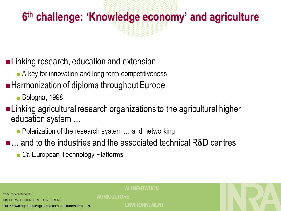 ALIMENTATION AGRICULTURE ENVIRONNEMENT York, 22-24/09/2005 XIX EURAGRI MEMBERS CONFERENCE, The Knowledge Challenge: Research and Innovation20 6 th cha