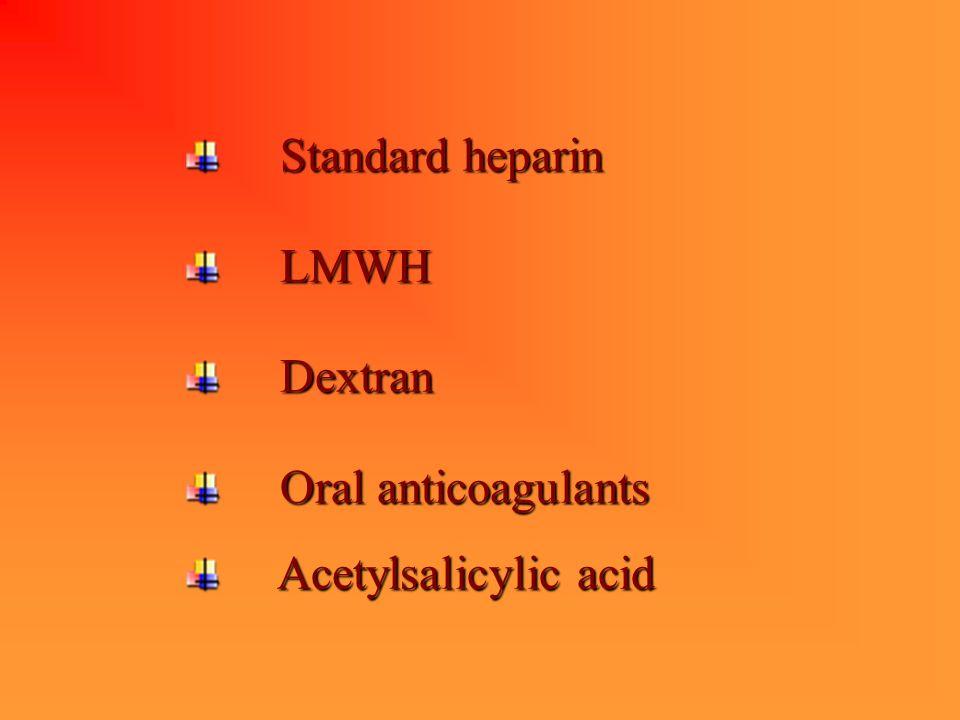 Standard heparin Standard heparin LMWH LMWH Dextran Dextran Oral anticoagulants Oral anticoagulants Acetylsalicylic acid Acetylsalicylic acid