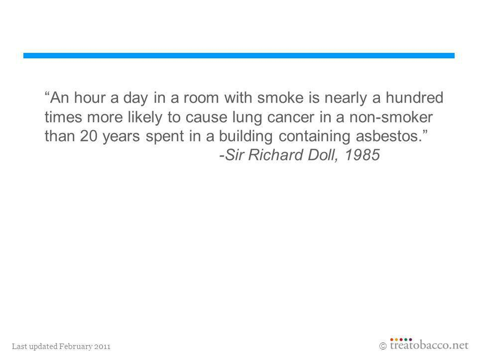 Last updated February 2011 An hour a day in a room with smoke is nearly a hundred times more likely to cause lung cancer in a non-smoker than 20 years