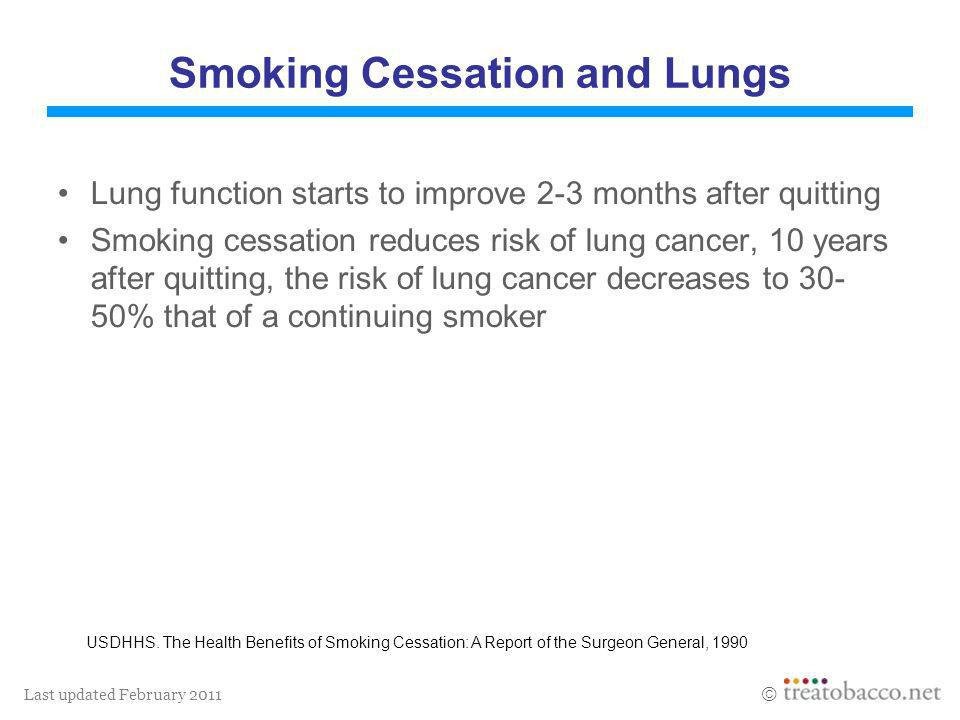 Last updated February 2011 Smoking Cessation and Lungs Lung function starts to improve 2-3 months after quitting Smoking cessation reduces risk of lun