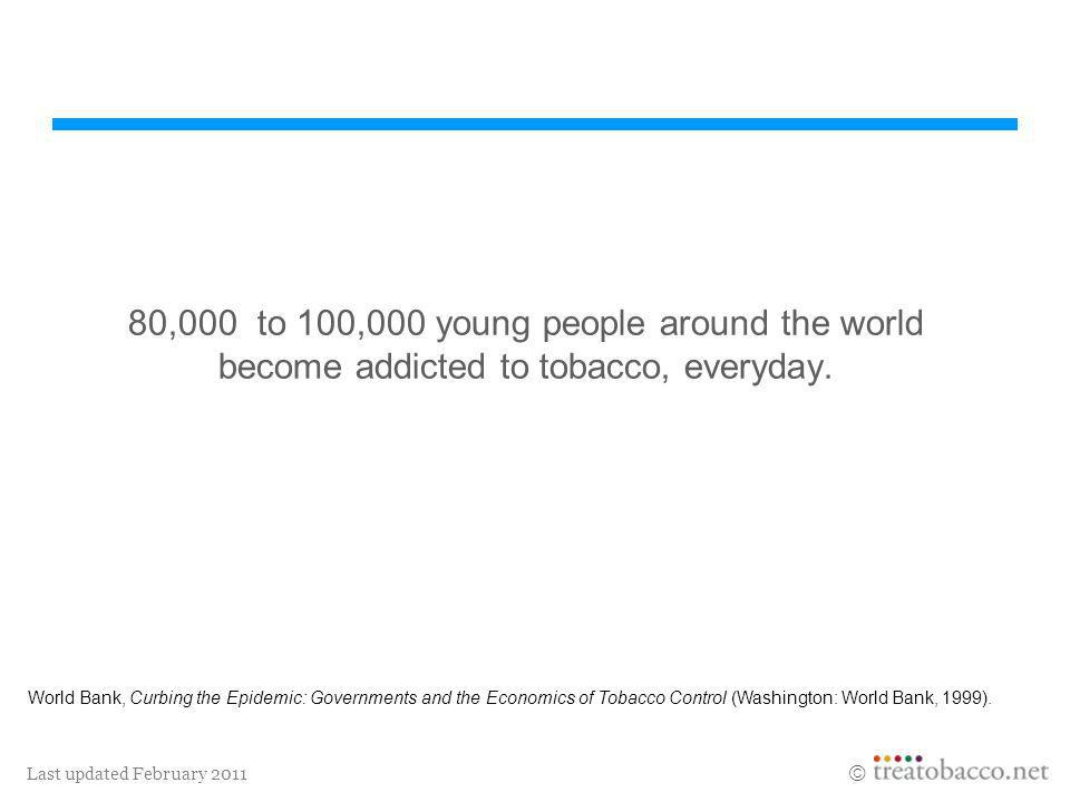 Last updated February 2011 80,000 to 100,000 young people around the world become addicted to tobacco, everyday. World Bank, Curbing the Epidemic: Gov