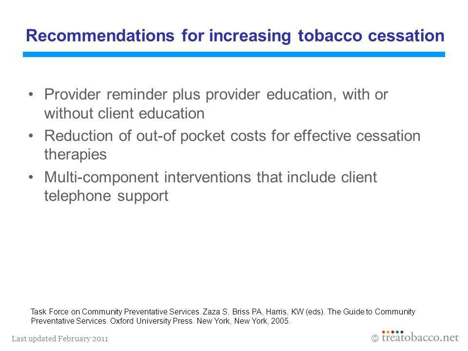 Last updated February 2011 Provider reminder plus provider education, with or without client education Reduction of out-of pocket costs for effective