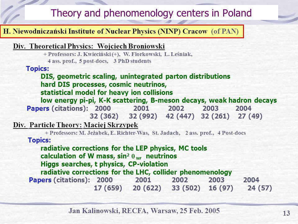 Jan Kalinowski, RECFA, Warsaw, 25 Feb Theory and phenomenology centers in Poland Div.