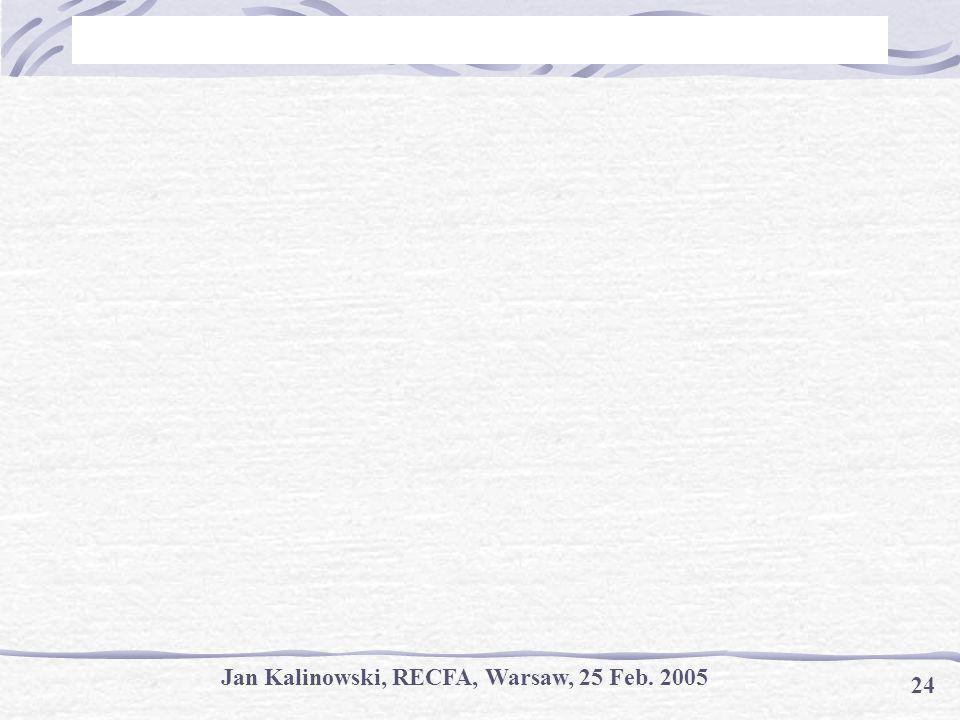 Jan Kalinowski, RECFA, Warsaw, 25 Feb. 2005 24