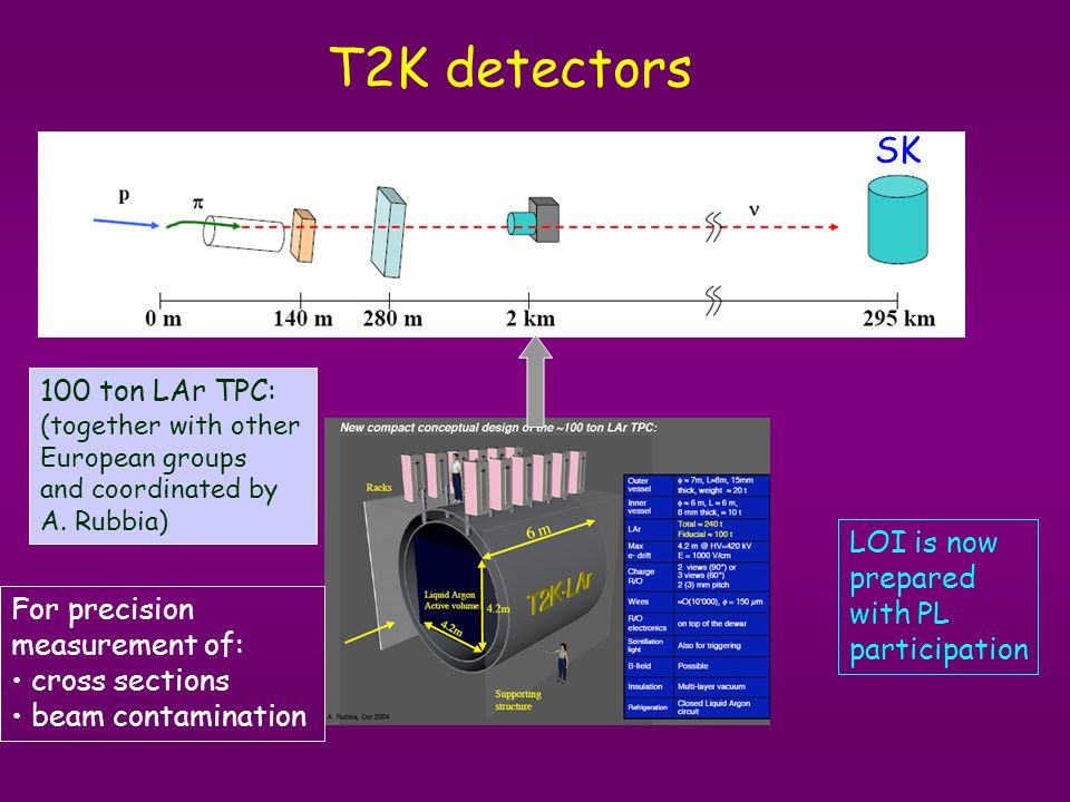 T2K detectors 100 ton LAr TPC: (together with other European groups and coordinated by A. Rubbia) LOI is now prepared with PL participation SK For pre