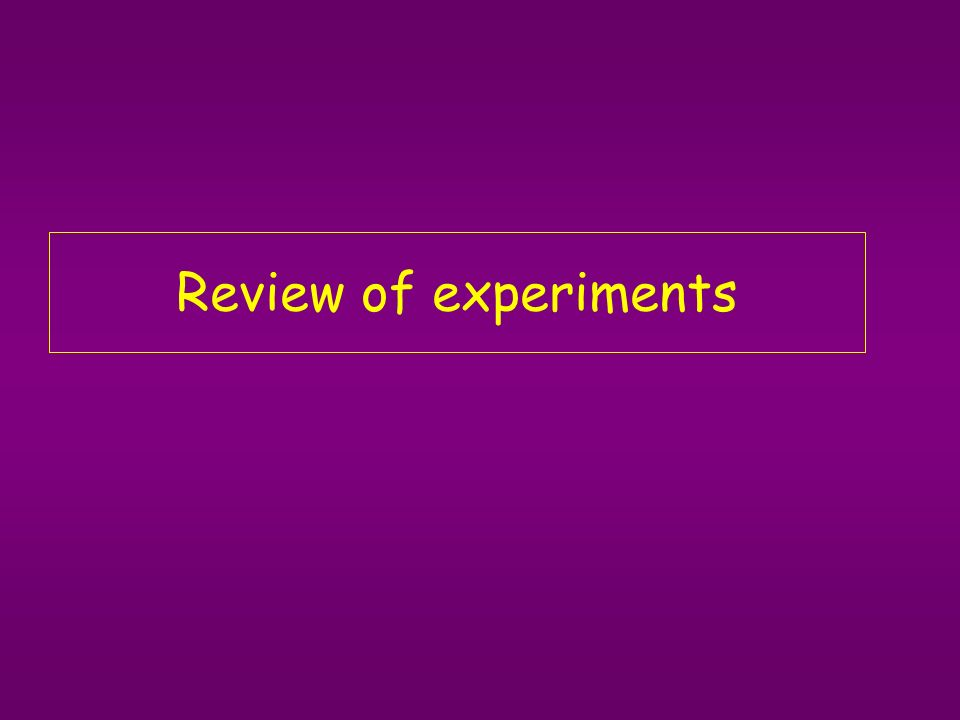 Review of experiments