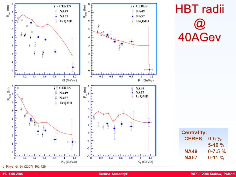 11-14.08.2008Dariusz Antończyk WPCF 2008 Krakow, Poland HBT radii @ 40AGev Centrality: CERES 0-5 % 5-10 % NA49 0-7.5 % NA57 0-11 % J.
