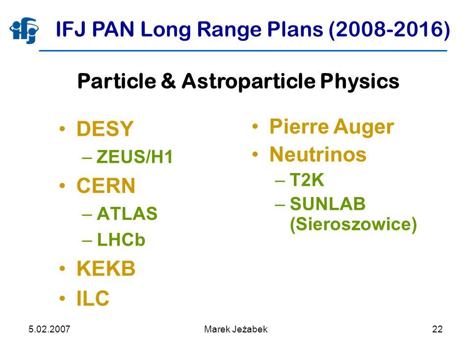 5.02.2007Marek Jeżabek22 IFJ PAN Long Range Plans (2008-2016) DESY –ZEUS/H1 CERN –ATLAS –LHCb KEKB ILC Pierre Auger Neutrinos –T2K –SUNLAB (Sieroszowice) Particle & Astroparticle Physics