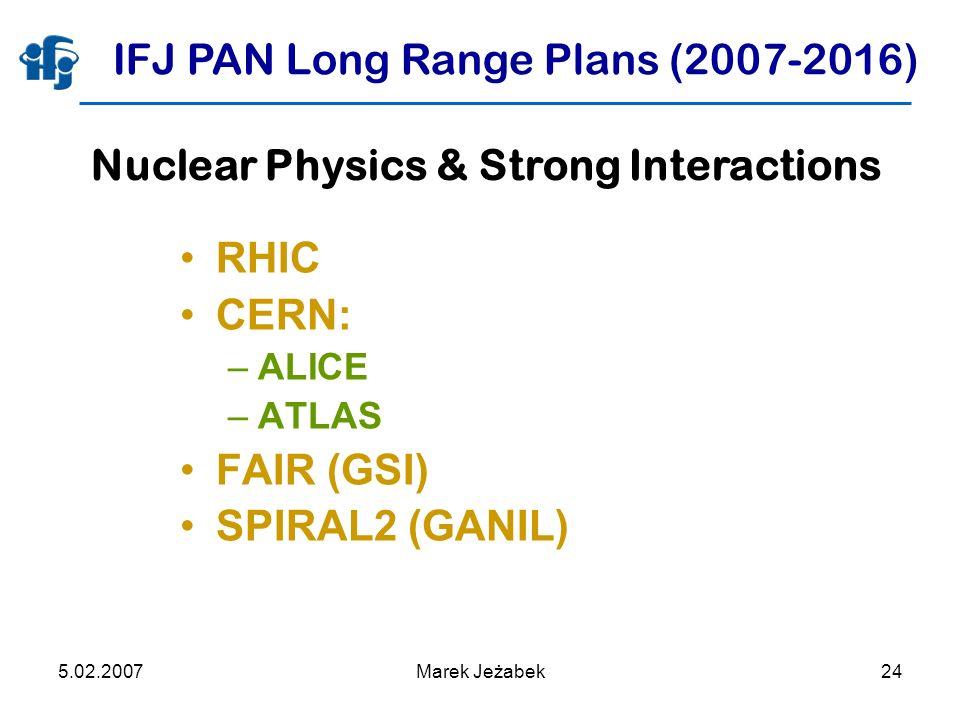 5.02.2007Marek Jeżabek24 IFJ PAN Long Range Plans (2007-2016) RHIC CERN: –ALICE –ATLAS FAIR (GSI) SPIRAL2 (GANIL) Nuclear Physics & Strong Interactions