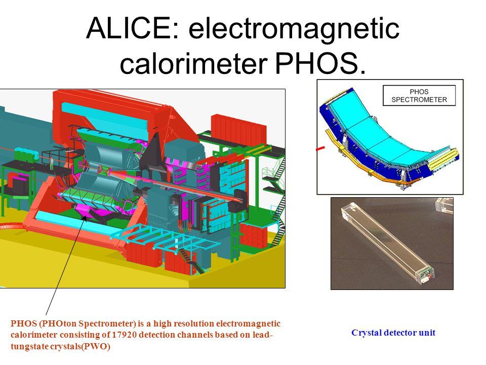 ALICE: electromagnetic calorimeter PHOS. PHOS (PHOton Spectrometer) is a high resolution electromagnetic calorimeter consisting of 17920 detection cha
