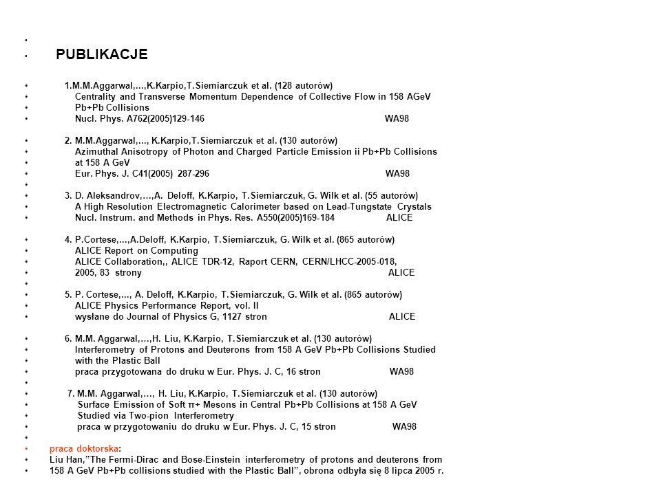 PUBLIKACJE 1.M.M.Aggarwal,...,K.Karpio,T.Siemiarczuk et al.