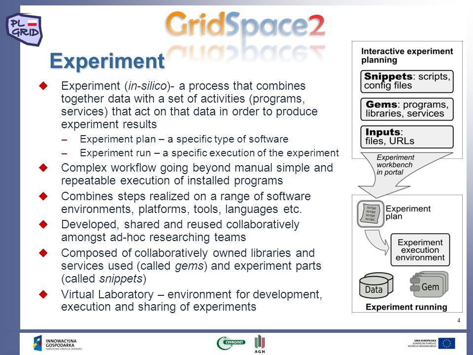 4 Experiment Experiment (in-silico)- a process that combines together data with a set of activities (programs, services) that act on that data in orde