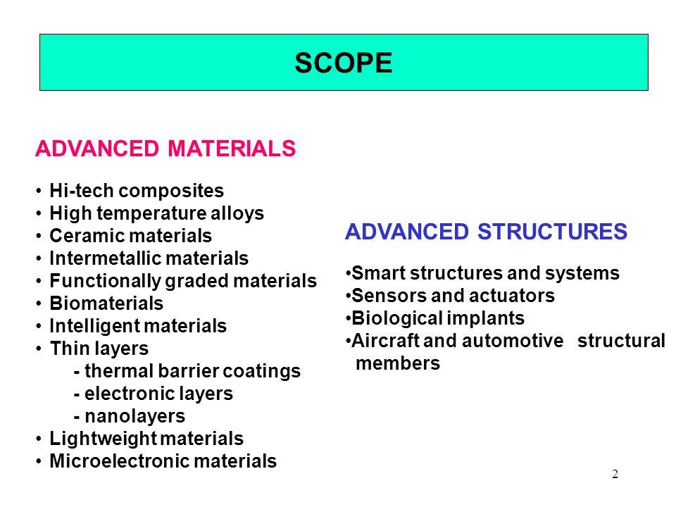 2 SCOPE ADVANCED MATERIALS Hi-tech composites High temperature alloys Ceramic materials Intermetallic materials Functionally graded materials Biomater