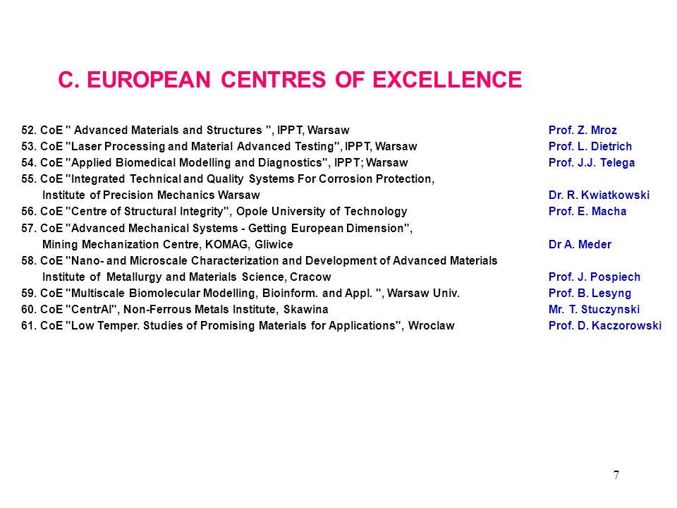 7 C. EUROPEAN CENTRES OF EXCELLENCE 52. CoE