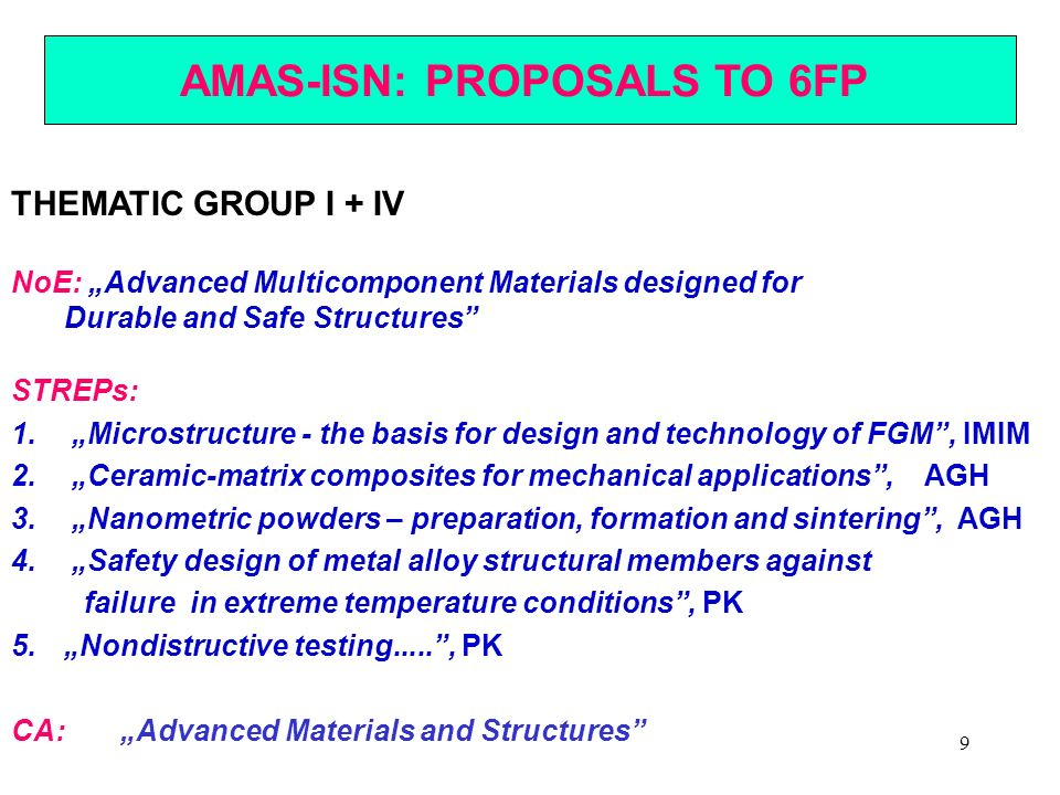 9 AMAS-ISN: PROPOSALS TO 6FP THEMATIC GROUP I + IV NoE: Advanced Multicomponent Materials designed for Durable and Safe Structures STREPs: 1. Microstr