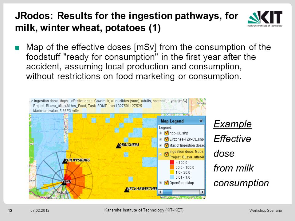 13 Karlsruhe Institute of Technology (KIT-IKET) 07.02.2012 Workshop Scenario JRodos: Results for the ingestion pathways, for milk, winter wheat, potatoes (2) Plot of the time development of the effective ingestion dose for the foodstuff, at the location of the maximum dose.