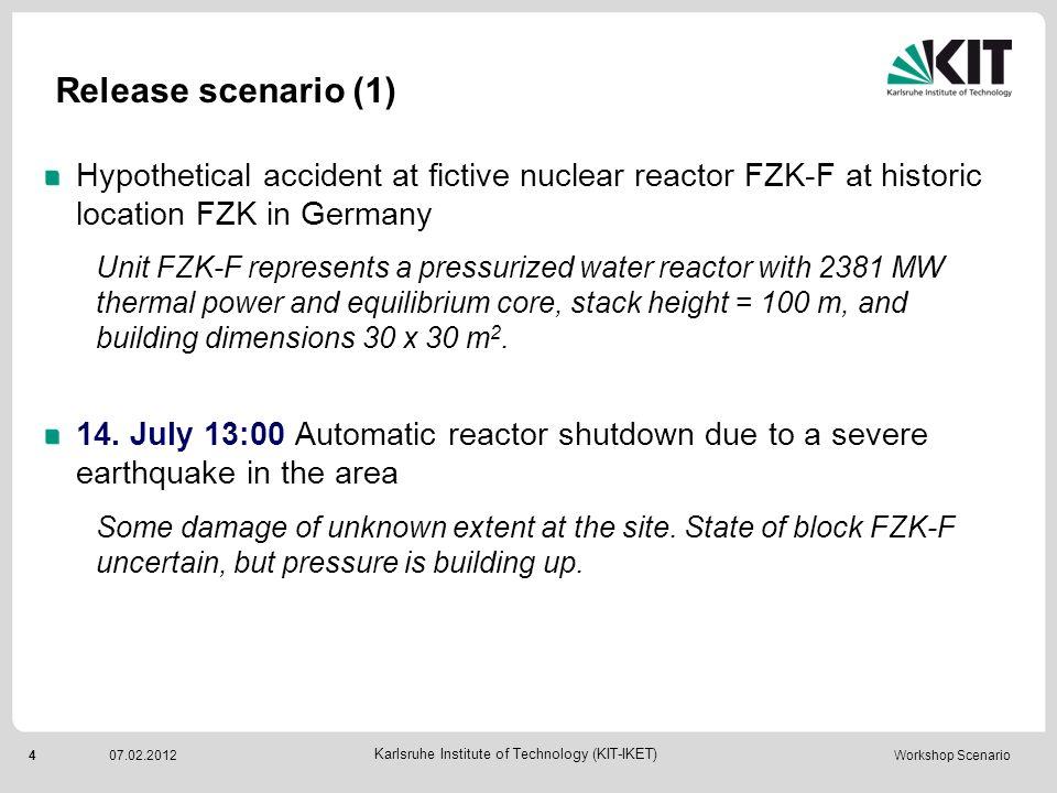 5 Karlsruhe Institute of Technology (KIT-IKET) 07.02.2012 Workshop Scenario Release scenario (2) 15.