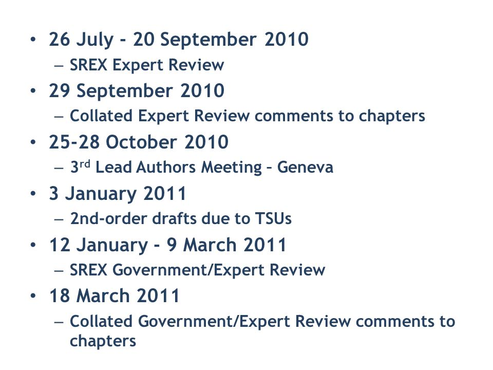 26 July - 20 September 2010 – SREX Expert Review 29 September 2010 – Collated Expert Review comments to chapters 25-28 October 2010 – 3 rd Lead Author