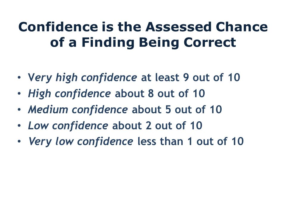Confidence is the Assessed Chance of a Finding Being Correct Very high confidence at least 9 out of 10 High confidence about 8 out of 10 Medium confid
