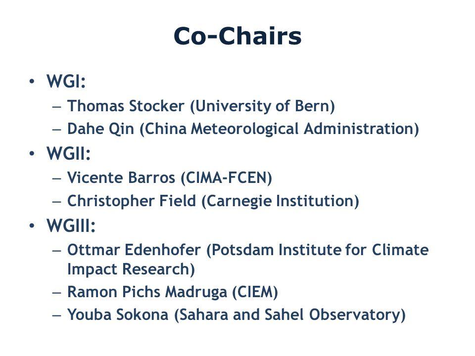 Co-Chairs WGI: – Thomas Stocker (University of Bern) – Dahe Qin (China Meteorological Administration) WGII: – Vicente Barros (CIMA-FCEN) – Christopher