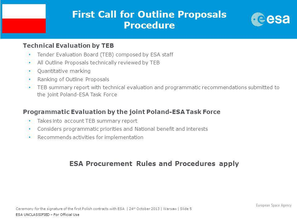 Ceremony for the signature of the first Polish contracts with ESA | 24 th October 2013 | Warsaw | Slide 5 ESA UNCLASSIFIED – For Official Use First Ca