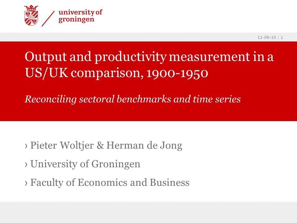 Introduction Long-span projections criticized through confrontations with benchmarks (Ward & Devereux, 2003) Sectoral, industry-of-origin, studies suffer from the same problems (Broadberry & Burhop, 2007) For pre-war period some benchmarks are available to cross- check time series projections Mostly based on quantity approach (Rostas, 1948) Data is available to apply ICOP unit value approach (Maddison & van Ark, 1988) Recent studies stress advantages of ICOP approach over quantity based comparisons (Fremdling et al., 2007) 11-06-10 | 2