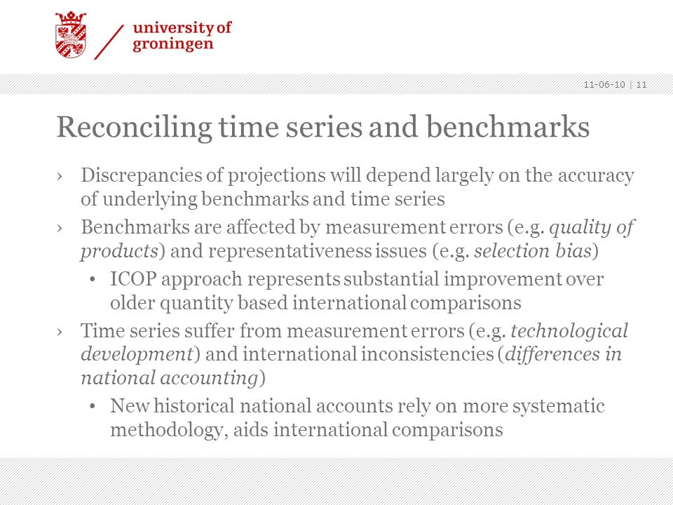 Reconciling time series and benchmarks Discrepancies of projections will depend largely on the accuracy of underlying benchmarks and time series Bench