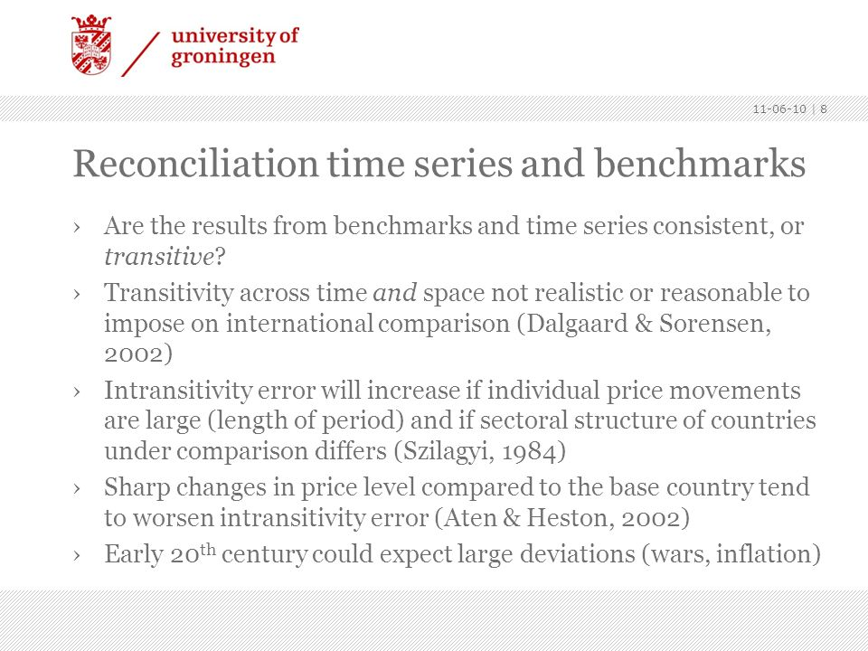 Reconciliation time series and benchmarks Are the results from benchmarks and time series consistent, or transitive? Transitivity across time and spac