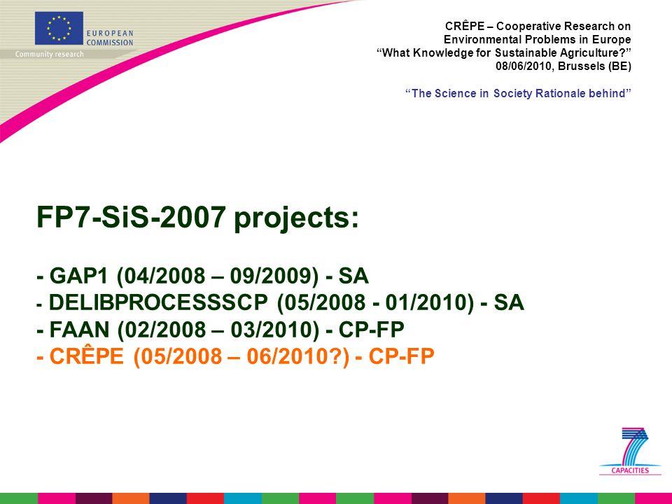 FP7-SiS-2007 projects: - GAP1 (04/2008 – 09/2009) - SA - DELIBPROCESSSCP (05/2008 - 01/2010) - SA - FAAN (02/2008 – 03/2010) - CP-FP - CRÊPE (05/2008