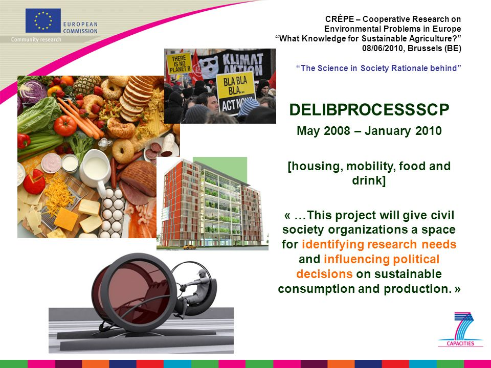 CRÊPE – Cooperative Research on Environmental Problems in Europe What Knowledge for Sustainable Agriculture? 08/06/2010, Brussels (BE) The Science in