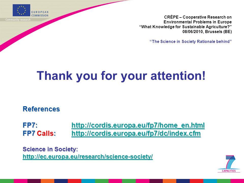 References FP7: http://cordis.europa.eu/fp7/home_en.html http://cordis.europa.eu/fp7/home_en.html FP7 Calls: http://cordis.europa.eu/fp7/dc/index.cfm