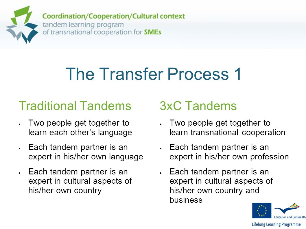 The Transfer Process 1 Traditional Tandems Two people get together to learn each other's language Each tandem partner is an expert in his/her own lang