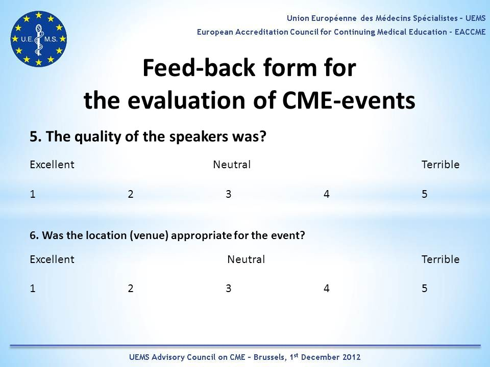 Feed-back form for the evaluation of CME-events 5.