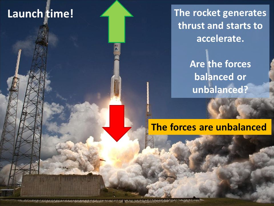 Launch time! The rocket generates thrust and starts to accelerate. Are the forces balanced or unbalanced? The forces are unbalanced