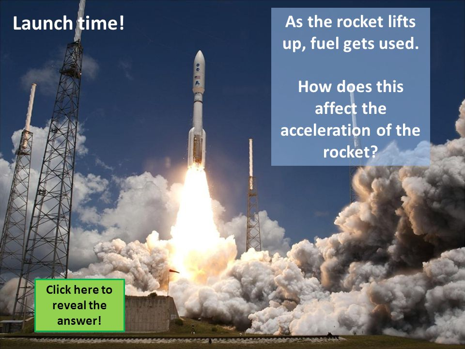 Launch time! As the rocket lifts up, fuel gets used. How does this affect the acceleration of the rocket? Click here to reveal the answer!