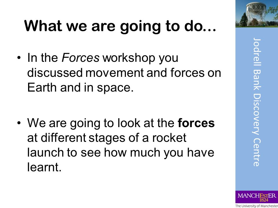 What we are going to do... In the Forces workshop you discussed movement and forces on Earth and in space. We are going to look at the forces at diffe