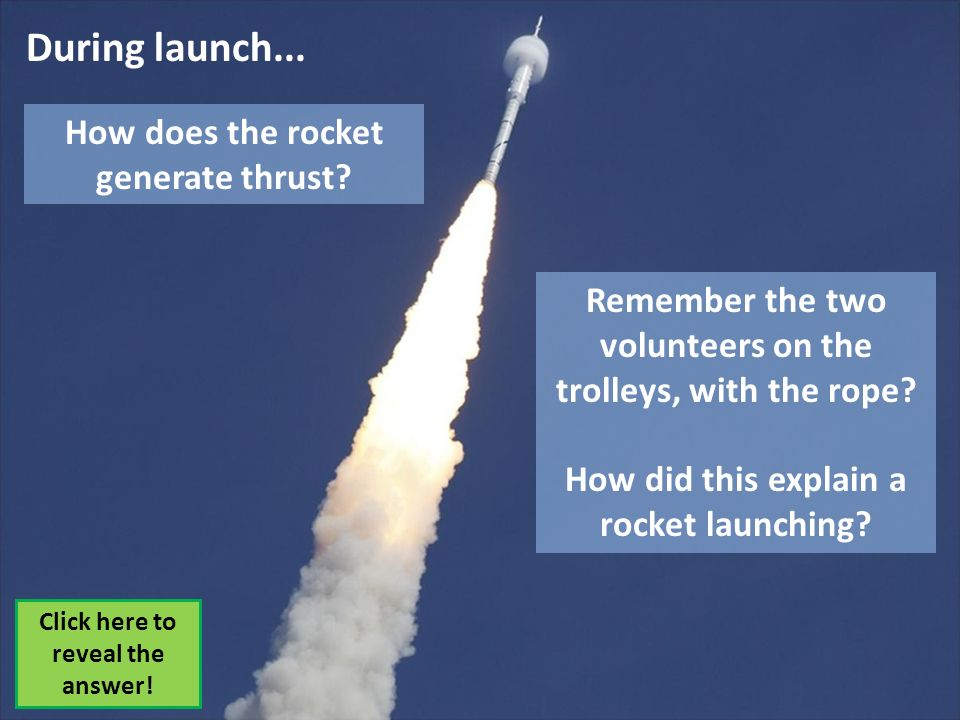 How does the rocket generate thrust? Click here to reveal the answer! Remember the two volunteers on the trolleys, with the rope? How did this explain