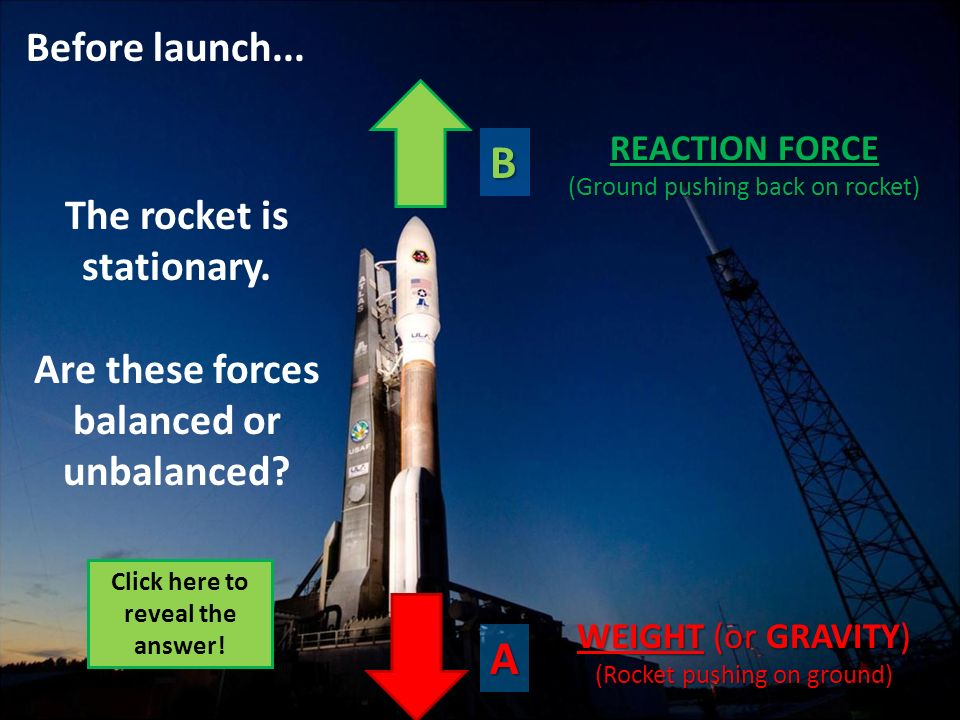 A B Before launch... The rocket is stationary. Are these forces balanced or unbalanced? WEIGHT (or GRAVITY) (Rocket pushing on ground) REACTION FORCE
