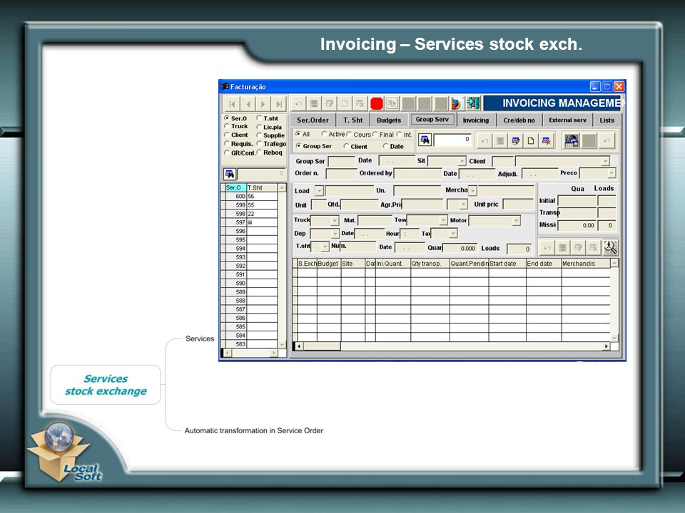 Invoicing – Services stock exch.